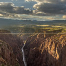 beautiful view of the royal gorge bridge in the late afternoon sun