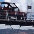 Colorado Jeep Tour vehicle driving over Royal Gorge bridge