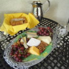 Jeep and Wine tour showing cheese fruit and bread selections