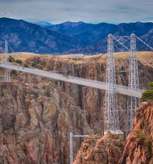 Jeep travels across the Royal Gorge Bridge in Canon City Colorado