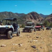 four ATVs go off roading during a Play Dirty ATV adventure Royal Gorge Canon City Colorado