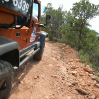 side view of Colorado Jeep Tour vehicle on a trail Royal Gorge Canon City Colorado