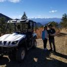 couple poses for a scenic photo next to a Play Dirty ATV Royal Gorge Canon City Colorado