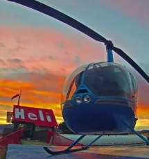 helicopter at sunset after a tour near the Royal Gorge Canon City Colorado
