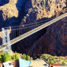 side aerial view of the Royal Gorge Bridge in Canon City Colorado