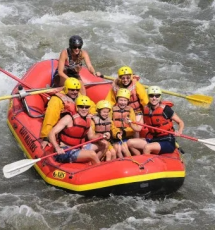 aerial view of group whitewater rafting Royal Gorge Canon City Colorado