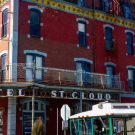 Trolley stops at Hotel St Cloud in Canon City
