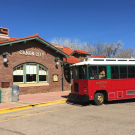 Canon City Trolly pulls in the station to let passengers off the trolley
