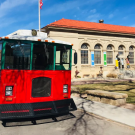 Trolley stops at historical landmarks in Canon City Colorado