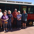 group of friends enjoy their experience on the Canon City Trolley