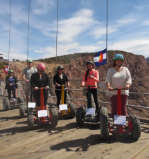 segway riders are on the Royal Gorge Bridge ready for their off road experience Canon City Colorado