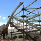 Dinosaur head greets people at the aerial park challenge Royal Gorge Canon City Colorado