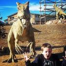 young boy makes the same face as a dinosaur for fun Royal Gorge Canon City Colorado